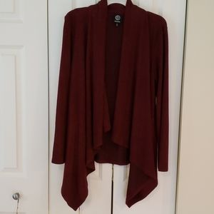 Brushed knit burgundy waterfall sweater cardigan